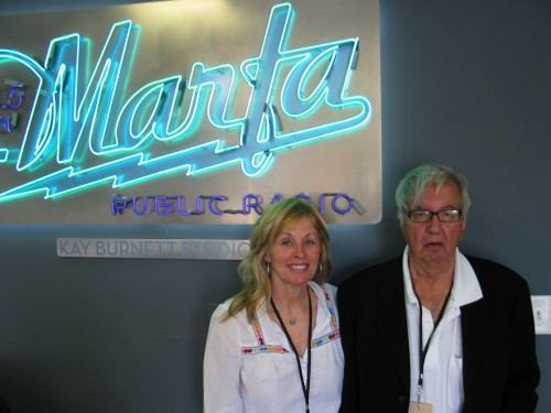 Diana Ossana and Larry McMurtry at the KRTS Studios, May 2009.