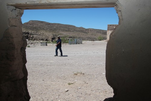 Teacher Saulo Armedariz on the village's main street, Boquillas, Mexico. (Photo: Lorne Matalon