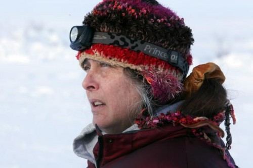 "Susan Aikens searches the horizon for the wolf she believes is hunting her on the show ""Life Below Zero"" (Photo courtesy of the Chicago Tribune)."