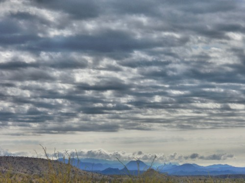 Mule Ears and Chisos as seen from Big Bend State Park