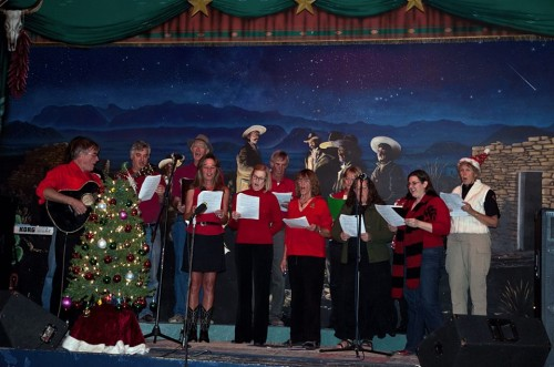 The Terlingua Community Choir led by Ted Arbogast.  Photo (c) 2013 Pat O'Bryan