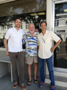 Tom Michael of KRTS (left) with artists Bob Wade (Daddy-O) and Jack Massing (The Art Guys), August 2013, Marfa TX.