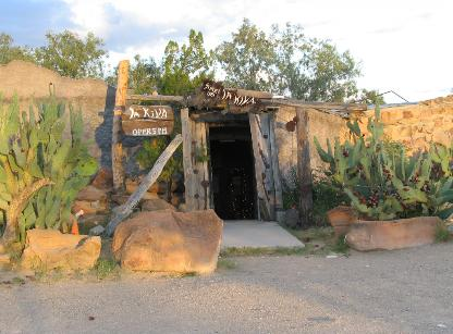 The entrance to La Kiva in Terlingua.
