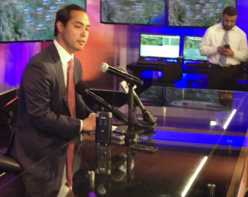 San Antonio Mayor Julián Castro speaks to the press after the immigration debate at the Univision41 studios. (David Martin Davies/TPR News)