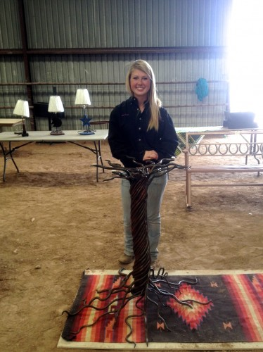 Marfa ISD student Bailey Walker with her tree-inspired table.