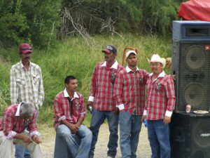 Musicians on the Mexican side of the border