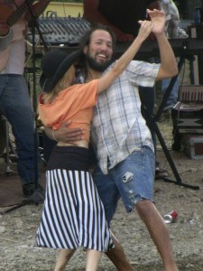 Jessica Lutz of Terlingua and Marfa dancing in celebration with Moses Martinez of Terlingua