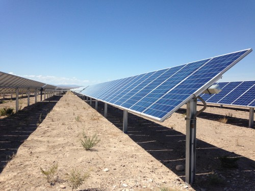 The Acacia Solar Plant in Presidio, TX has been online for just a year, but it's re-vamped the city's power infrastructure. (Travis Bubenik/KRTS)