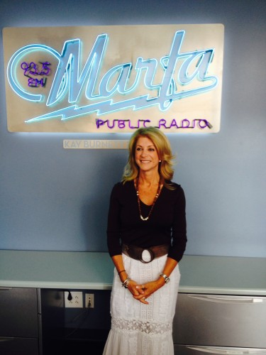 Texas State Senator Wendy Davis, a candidate for Governor, at the KRTS Studios, Marfa TX, August 2014.