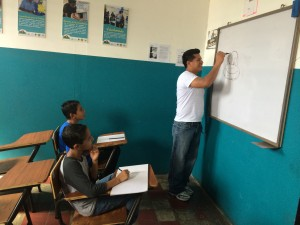 A drawing lesson at the youth outreach center in Chalchuapa, El Salvador. (Jude Joffe-Block)