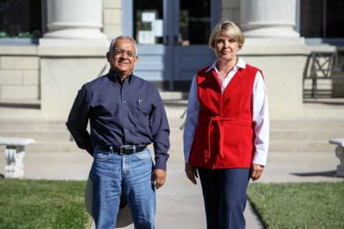 Fred Granado (D) and Jeannette Duer (R), the candidates for Jeff Davis County Judge, outside the county courthouse in Fort Davis. (Ryan Kailath)