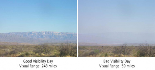 Views into Mexico across Big Bend National Park on a clear and hazy day. (NPS)