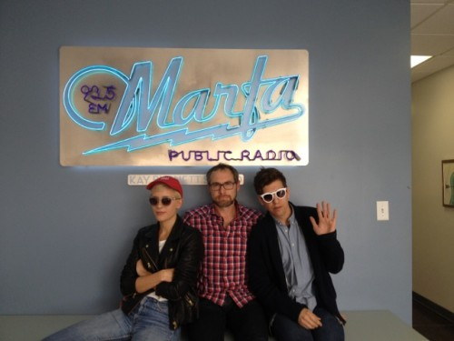YACHT memebers Jona Bechtolt and Claire L. Evans with host Tom Michael in the Marfa Public Radio studio.