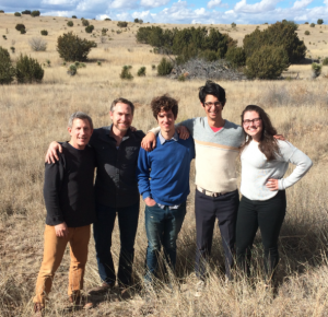 The staff of Marfa Public Radio, left to right: Lorne Matalon, Tom Michael, Travis Bubenik, Michael Camacho and Sara Melancon.