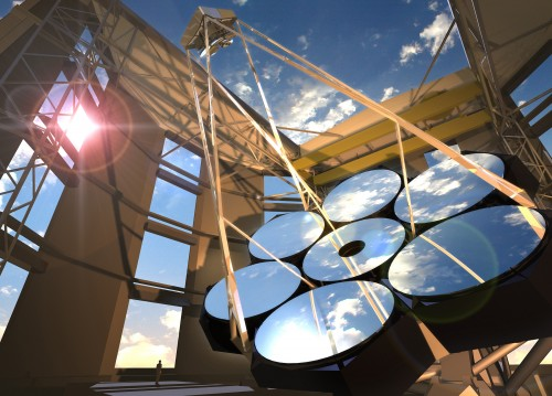 An artist's concept of the Giant Magellan Telescope. (Credit: Todd Mason/GMT Consortium/Carnegie Observatories)