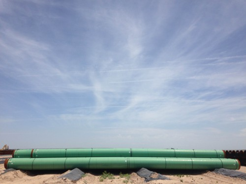 An Energy Transfer pipeline staging yard near Fort Stockton, TX. (Travis Bubenik / KRTS)
