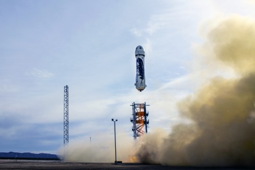 """Blue Origin's """"New Shephard"""" space craft takes off from the company's West Texas facility for a second test flight. (Blue Origin)"""