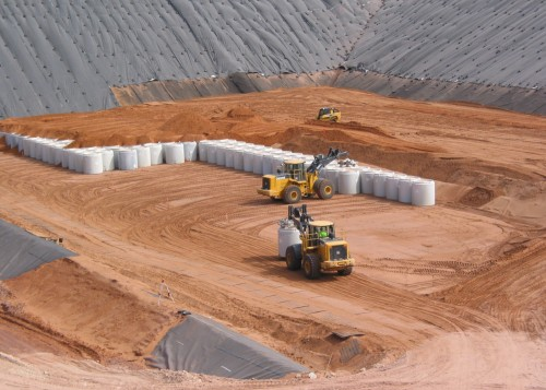 Radioactive waste byproducts storage at Waste Control Specialists in Andrews County, TX (WCS)