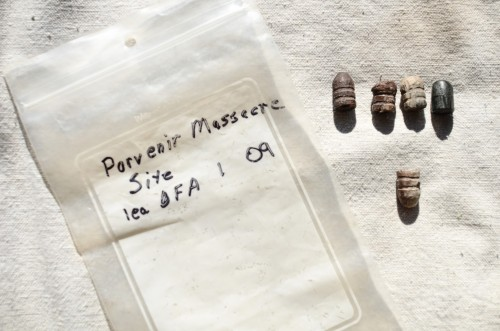 Artifacts at the site of Porvenir Massacre, collected by Glenn Justice (Jessica Lutz).