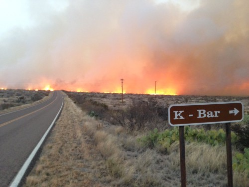 A wildfire burning east of Panther Junction, Big Bend National Park on Monday evening after igniting around 5 P.M. (Big Bend National Park)