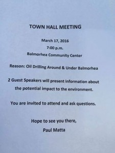 A flyer distributed to Balmorhea residents about Thursday's community meeting.