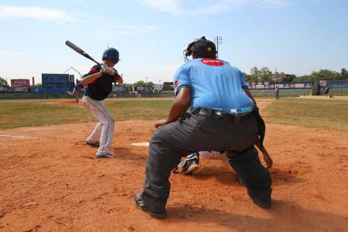 The view at home plate at a prospects game in Baranquilla, Colombia. Several players said they're focused on a US college scholarship rather than a pro career in the US. (Lorne Matalon)