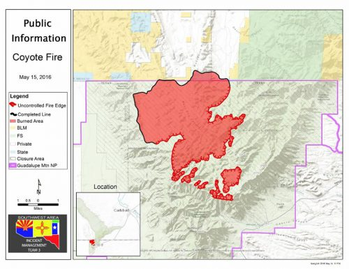 A map of the Coyote Fire burn area, from May 15, 2016. (Southwest Area Incident Management)