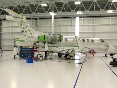 Brazlian jet maker Embraer employs about 600 people in Melbourne, Fla., and is expanding. (Greg Allen/NPR)