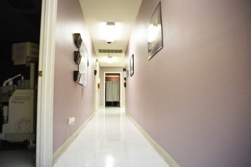 A hallway at the Whole Woman's Health clinic in Austin. The clinic, one of 22 remaining abortion providers in the state, does not currently meet requirements that will take effect on Sept. 1. (Callie Richmond)