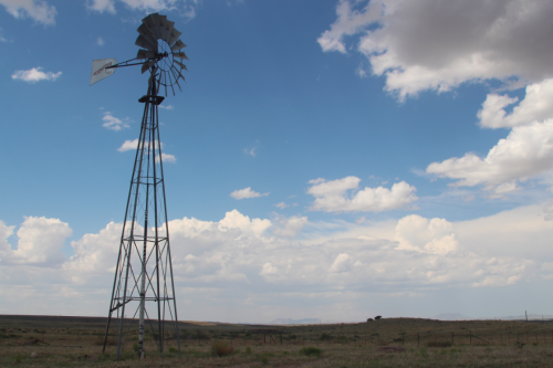 Water is always a crucial consideration for landowners in rural west Texas. The planned route of the Trans-Pecos Pipeline is only yards away from this well on the Barreno Ranch near Marfa, Texas. (Lorne Matalon)