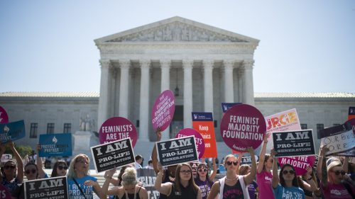 Abortion rights supporters and opponents rally outside of the U.S. Supreme Court on June 20. (Bill Clark/CQ-Roll Call,Inc.)