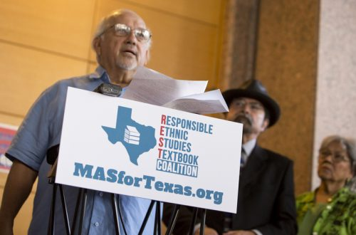 Dr. Emilio Zamora, a history professor at UT Austin, discusses factual errors in a proposed Mexican-American studies textbook during a press conference on July 18, 2016. (Marjorie Kamys Cotera)