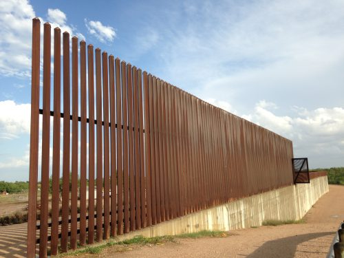 The border wall outside Peñitas, Texas is constructed of mostly steel. (Mónica Ortiz Uribe- KJZZ)