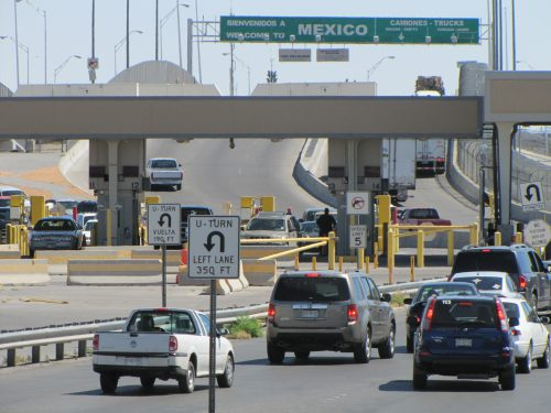 A 54-year-old woman who sued U.S. Customs and Border Protection walked across the Bridge of the Americas border crossing in El Paso when she detained in late 2012. (Mónica Ortiz Uribe-KJZZ)