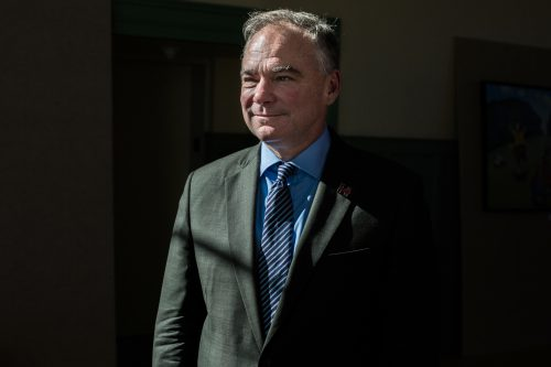 Democratic vice presidential nominee, Virginia Sen. Tim Kaine, held a town hall at the Exeter Town Hall in Exeter, N.H., on Thursday afternoon. (John Tully for NPR)