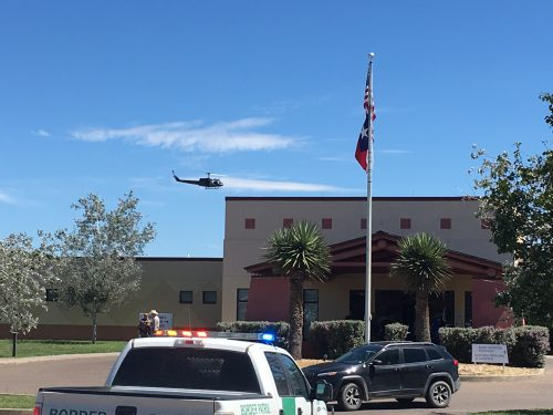 Various federal, state and local law enforcement arrived at the Big Bend Regional Medical Center in Alpine, which was the subject of a bomb threat along with other locations in Alpine and Marathon, TX on Thursday. (Travis Lux)