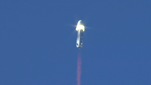 The moment New Shepard's crew capsule separated from its rocket booster during Wednesday's test launch. (Blue Origin)