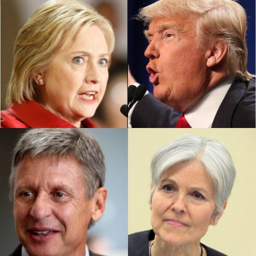 Clockwise from the upper left are presidential candidates: Democrat Hillary Clinton, Republican Donald Trump, Green Party Jill Stein and Libertarian Gary Johnson. (Photos by the Texas Tribune and Gage Skidmore)