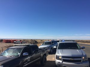 Local and state police, along with Border Patrol agents, guarded the pipeline construction site during the protest. (Travis Bubenik/KRTS)