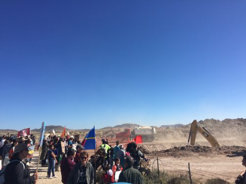 Trans-Pecos Pipeline opponents gathered to protest at a construction site off Highway 90 near Marfa, TX. (Travis Bubenik/KRTS)