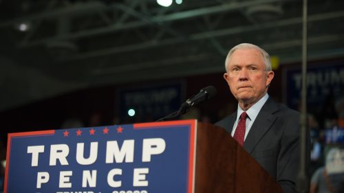 Alabama Sen. Jeff Sessions pledges his support for then-Republican presidential candidate Donald Trump before speaking to supporters on Oct. 10 at a rally in Ambridge, Pa. (Jeff Swensen/Getty Images)