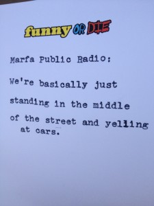 """Analog Tweet"" customized by Funny or Die for Marfa Public Radio."