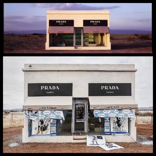 Prada Marfa before and after Sunday's vandalism (Credit: Top - James Evans, Bottom - Will Milne)