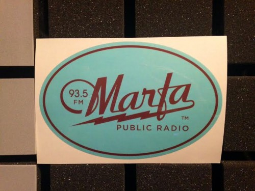 The new Marfa Public Radio bumper sticker - available to members at the $60 level or above!