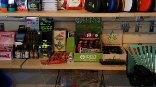 Some of the products sold at the Purple Zone in Alpine, TX. DEA agents raided the shop on suspicions the shop was selling outlawed synthetic drugs. (Tom Cochran)