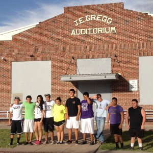 Marfa High School Class of 2015 pose before the first day of school, August 2014 (KRTS/Tom Michael)