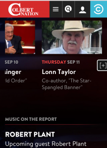 Marfa Public Radio host Lonn Taylor, on the schedule to appear on Colbert Report, on Comedy Central, on September 11, 2014.