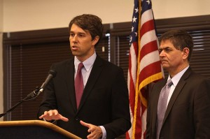 Congressman Beto O'Rourke of El Paso, with fellow Congressman Filemon Vela of Harlingen (Alberto Tomas Halpern)