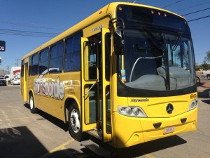 This 31-seat bus will transport tourists interested in visiting Ciudad Juárez from an El Paso souvenir shop. (Mónica Ortiz Uribe)