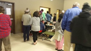 Travelers wait out the storm at the Balmorhea Community Center on Friday. (Gidget Treadaway)